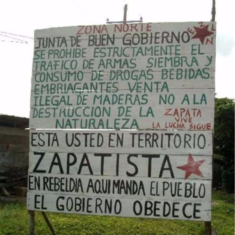 Zapatista territory sign