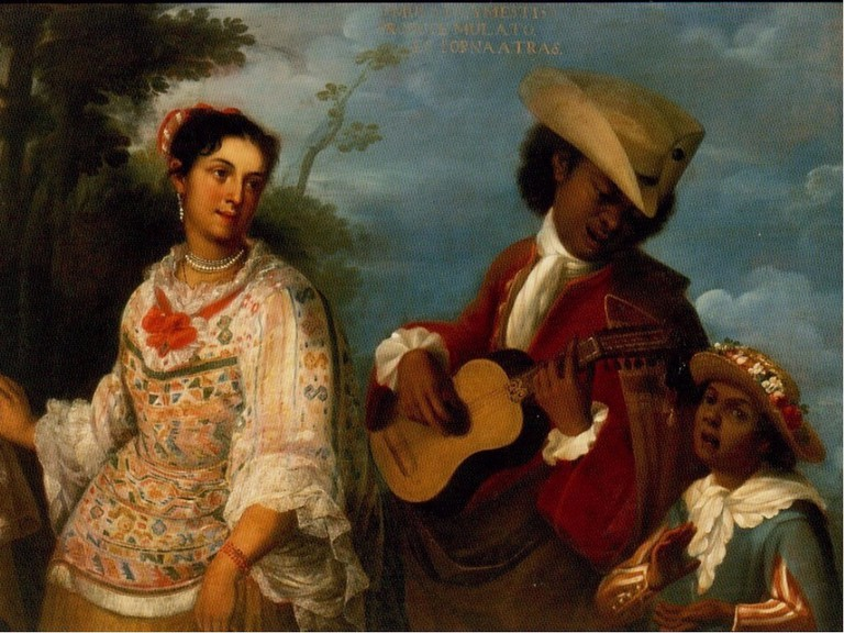 An 18th century Casta painting, depicting a mulato and a mestiza