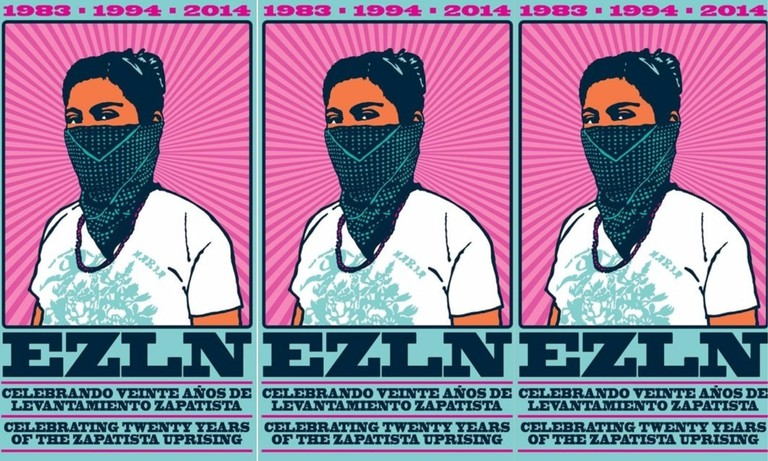 Poster celebrating 20 years of Zapatista action
