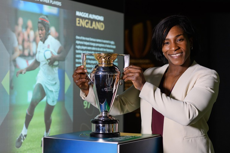 England's Maggie Alphonsi displays the Rugby World Cup Trophy