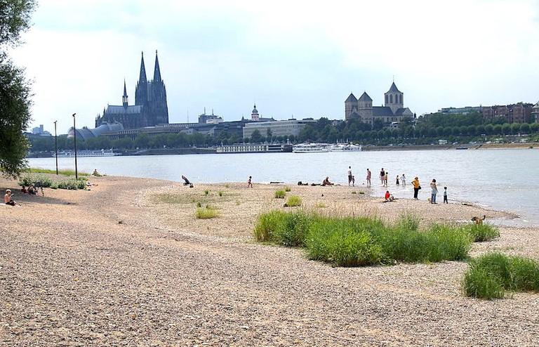People at the Rhine riverfront