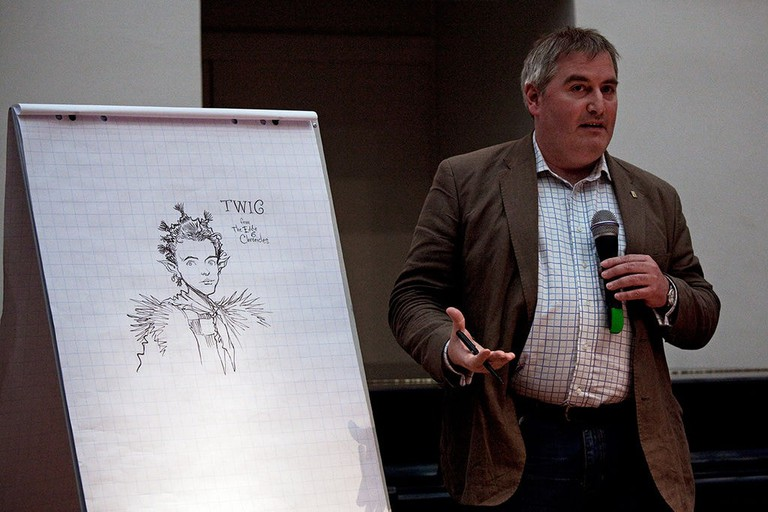 British author and illustrator Chris Riddell at lit.cologne