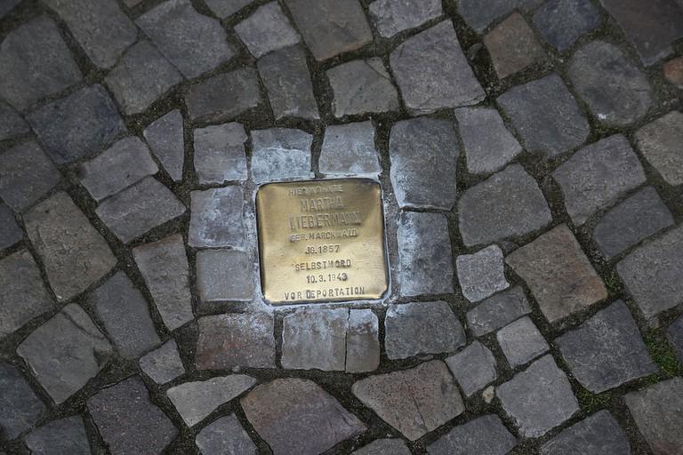 Stolperstein for Martha Liebermann, the widow of artist Max Liebermann in Pariser Platz, Berlin