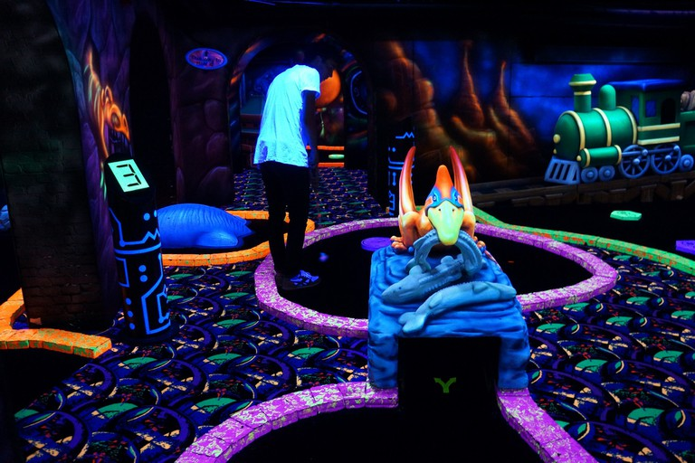 There's a glow-in-the-dark mini golf course in Amsterdam
