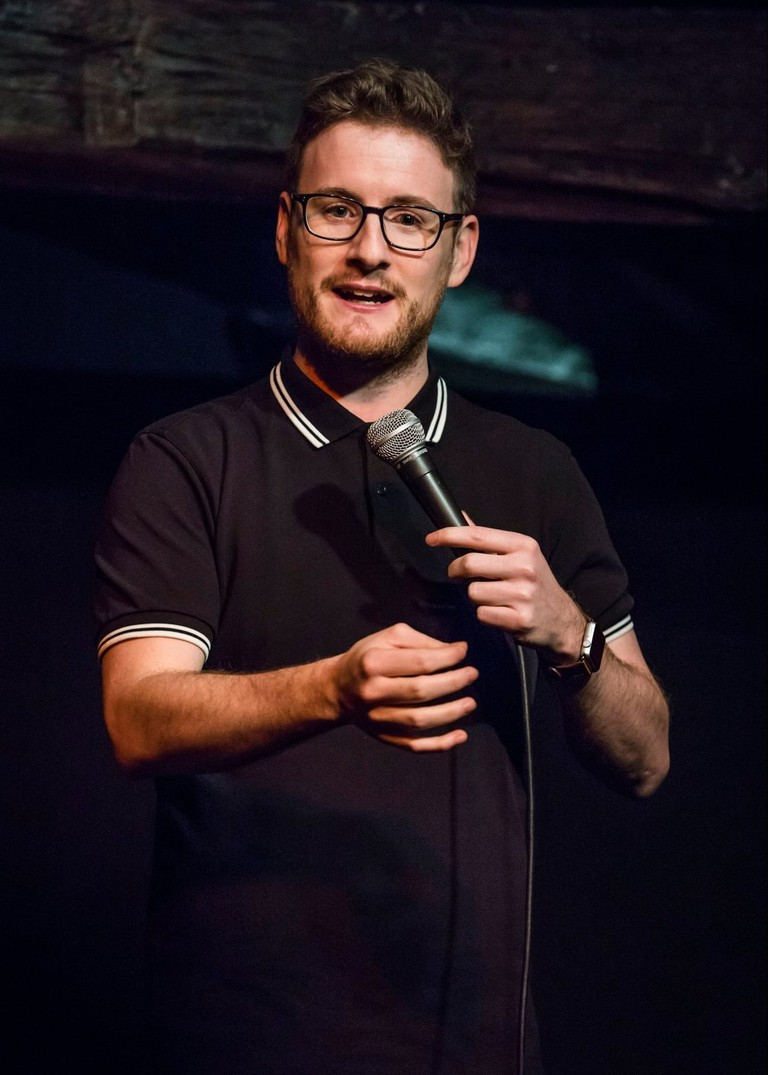 Paul Taylor performing at one of his stand-up shows