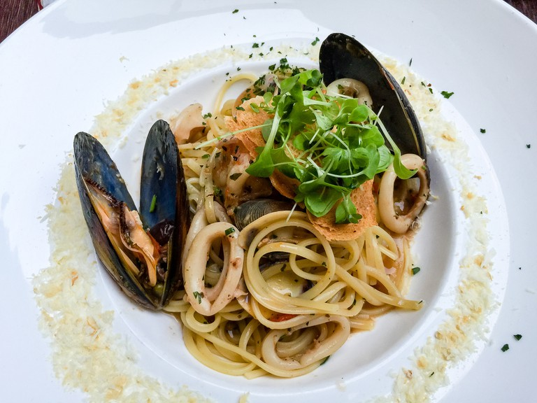 Seafood Linguine pasta at The Italian Chef in South Yarra