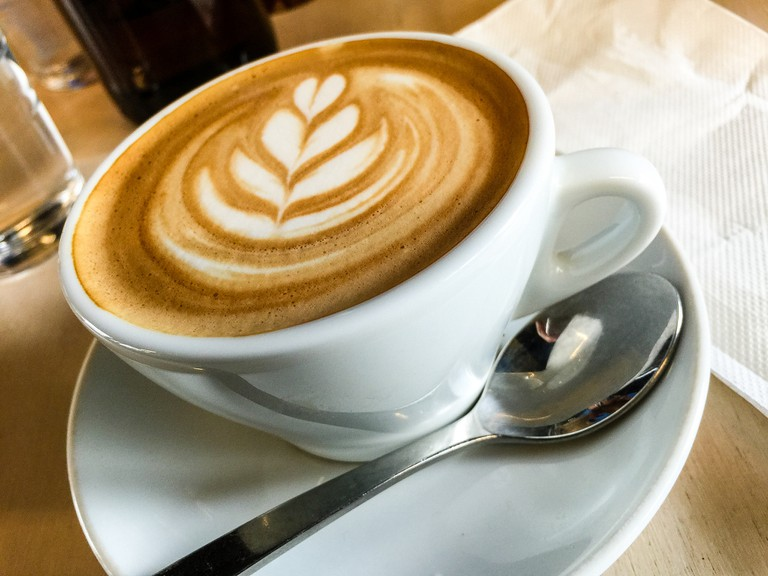 Flat white coffee at Patch Cafe in Richmond