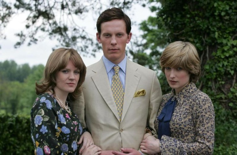 Camilla (Olivia Poulet), Charles (Laurence Fox), and Diana (Michelle Duncan) in <em>Charles & Camilla: Whatever Love Means</em> | © Granada Television/ITV
