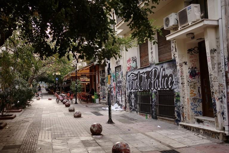 A pedestrian street in Exarcheia