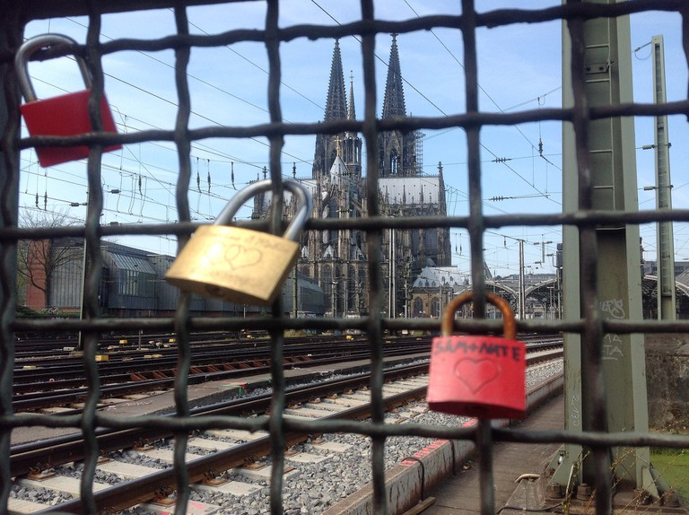 View of Cologne cathedral from love lock bridge