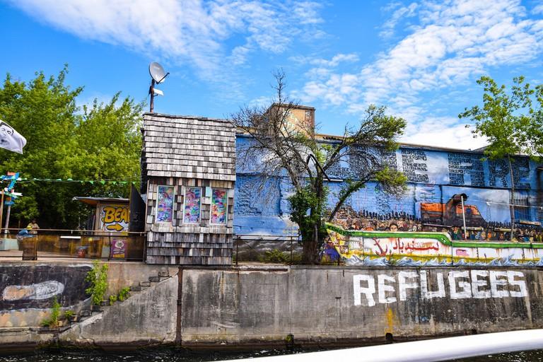 Graffiti covered buildings