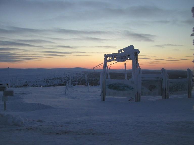 Frozen ski lift in Saariselkä