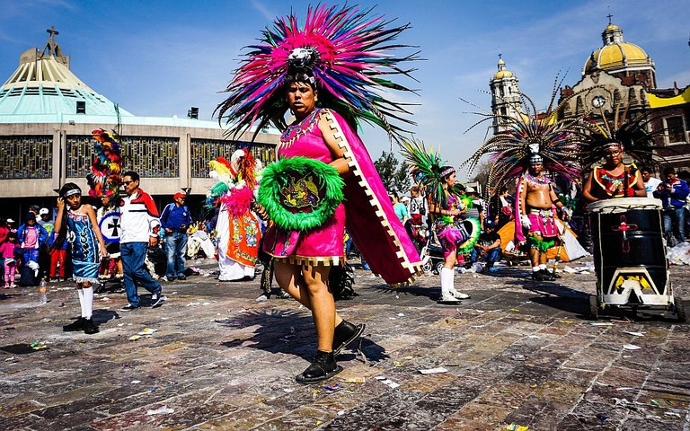Aztec dancers in front of the Basilica