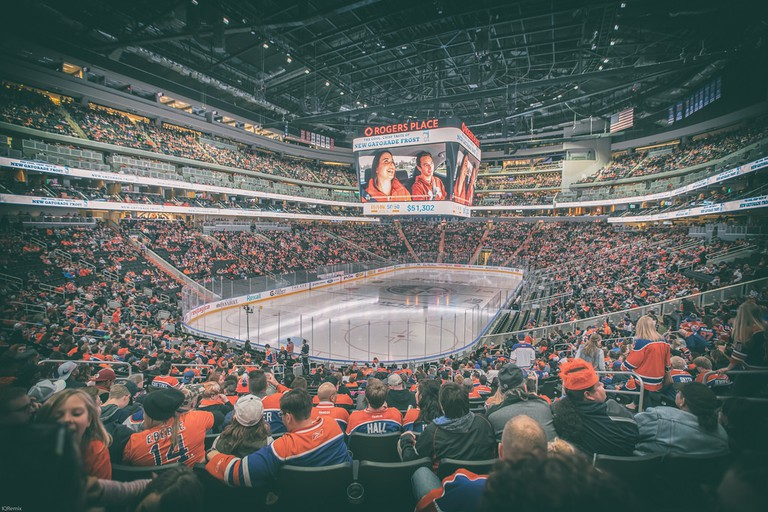 The crowd at a Canadian hockey game
