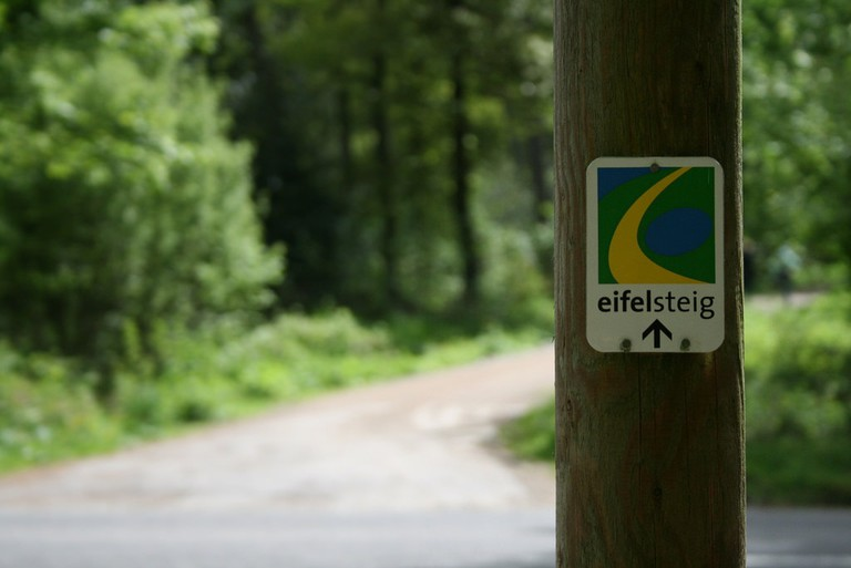 A signpost for the Eifelsteig trail near Aachen