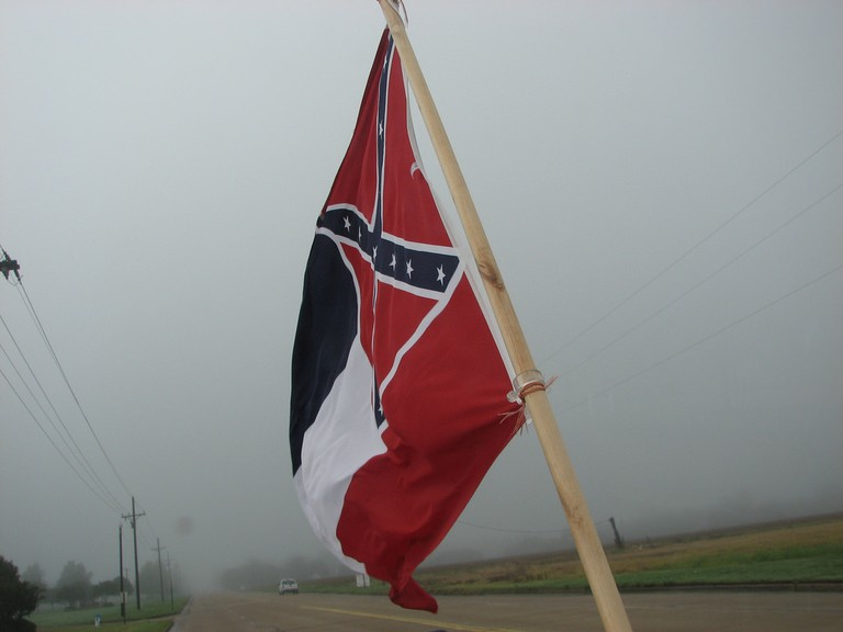 The Mississippi flag flying from a truck