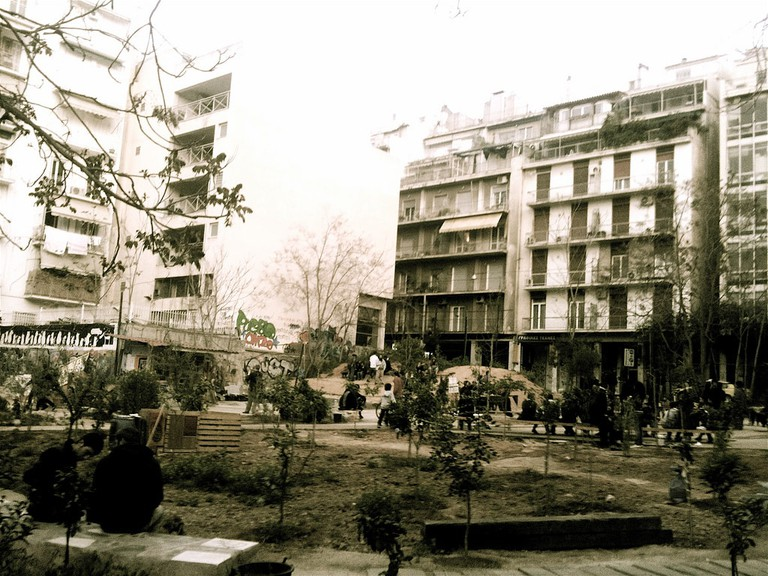 A former parking lot, squatted and transformed into a neighbourhood park by a grassroots citizens' initiative in Athens, Greece