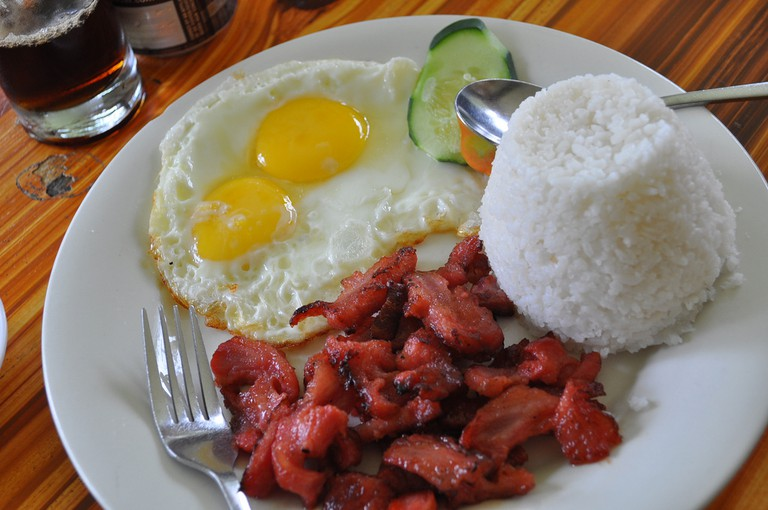 Filipino breakfast with spoon and fork