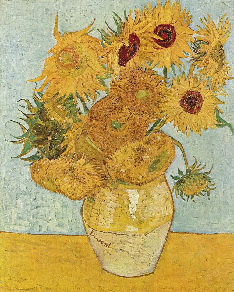 Vincent van Gogh, Still Life: Vase with Twelve Sunflowers (1888) at the Neue Pinakothek | Via The Yorck Project/WikiCommons