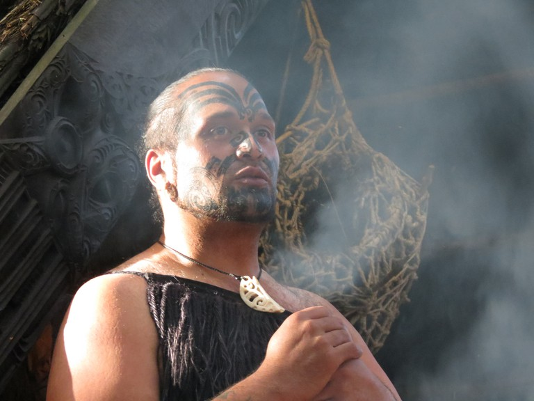 A warrior at the Tamaki Maori Village in Rotorua, New Zealand