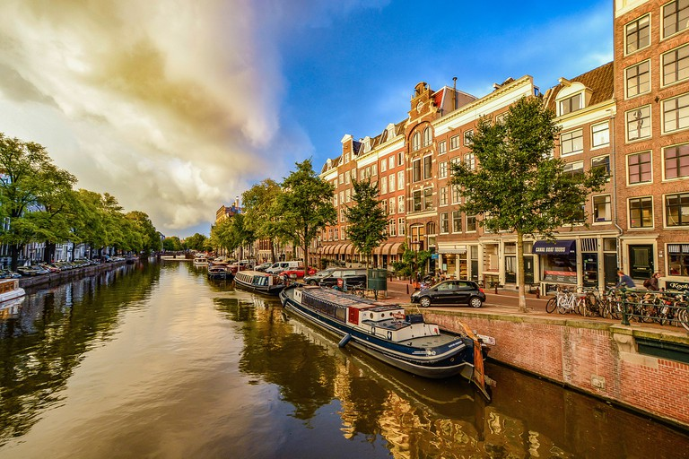 A typical canal in Amsterdam