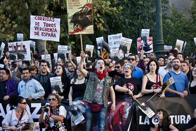 An anti-bullfighting protest in Zaragoza