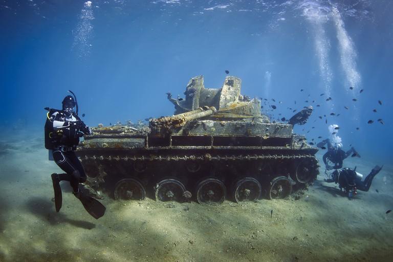 The sunken American tank