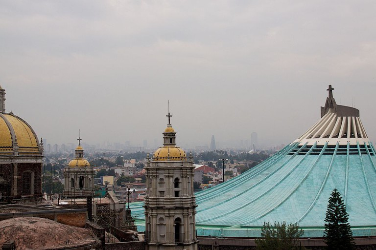 Rooftop views of both the old and new Basilica de Guadalupe