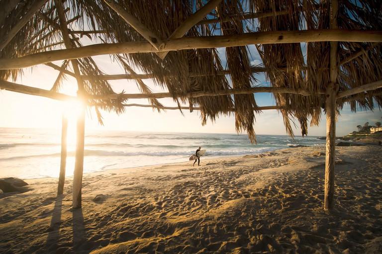 beach hut surf view