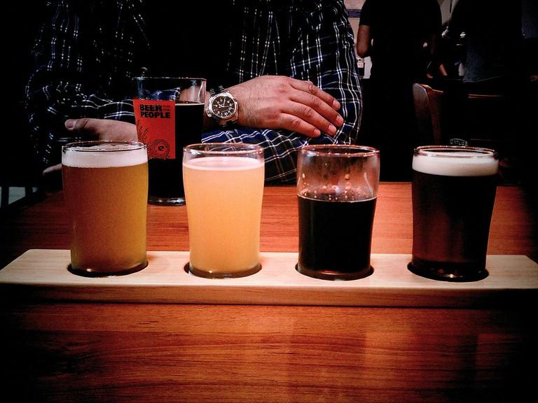 A beer flight at Eagle Rock Brew Co.