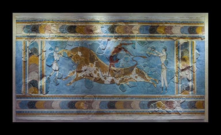 The bull-leaping fresco, original. Found in Knossos palace, Crete, Greece. (1600 – 1450 BCE )