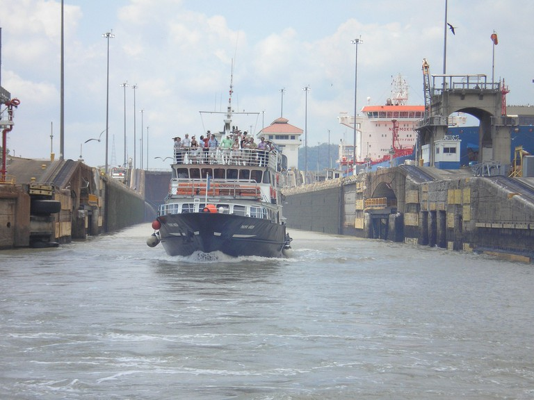 Boat transiting the Panama Canal