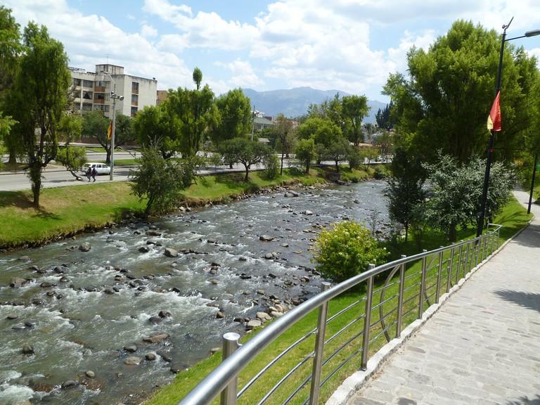 The Rio Tomebamba Runs Through Cuenca, Ecuador