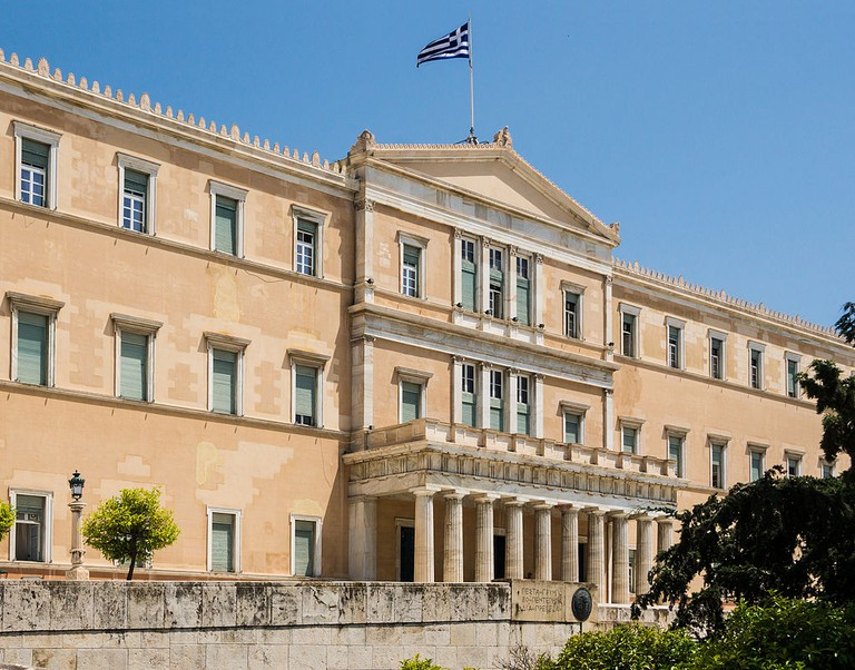 Detail of the main facade of the building of the Hellenic Parliament, Athens, Greece | Jebulon / Wikimedia Commons