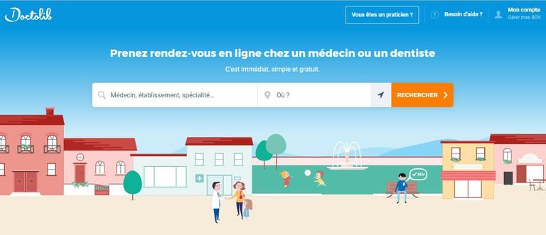 Doctolib homepage │ Courtesy of www.doctolib.fr