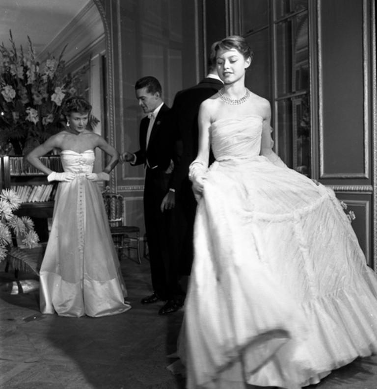 Brigitte Bardot in white dress by Jacques Fath, 1950