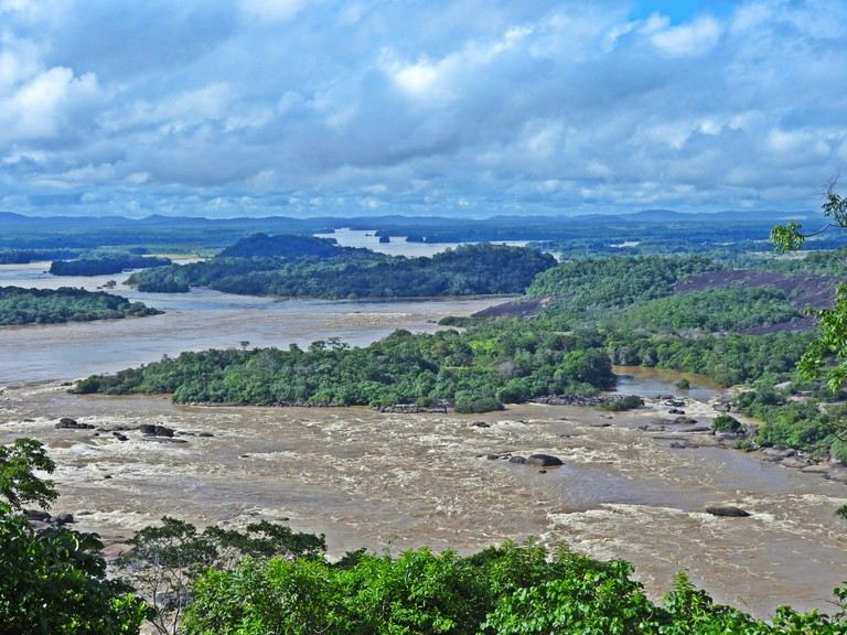 The stunning panorama over the Maipures Rapids and the vast jungle