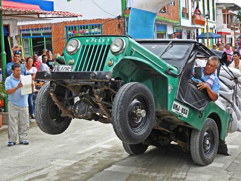 Jeep acrobatics at the Yipao Jeep parade