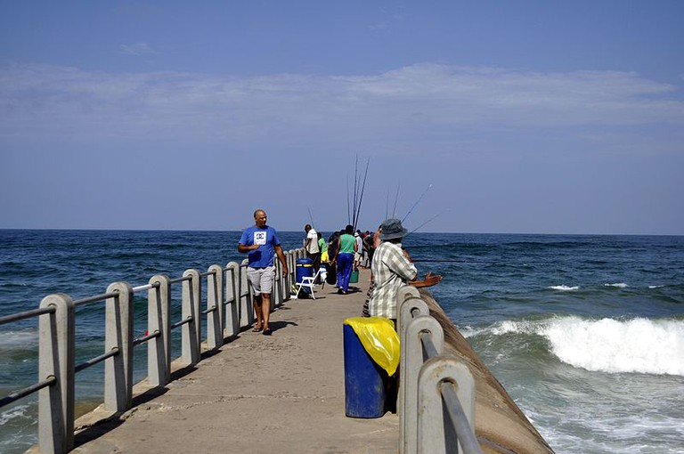 Fishing on the pier in Durban is a favourite Indian pastime