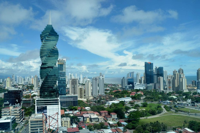 The F&F Tower, also known as El Tornillo, in the financial district of Panama City