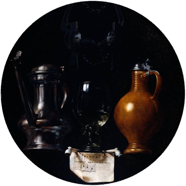 Johannes Torrentius, Emblematic still life with flagon, glass, jug and bridle, 1614
