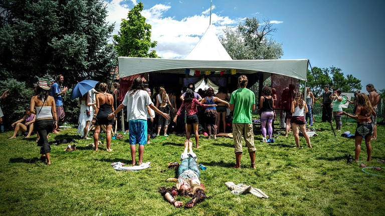 Hippies at a festival