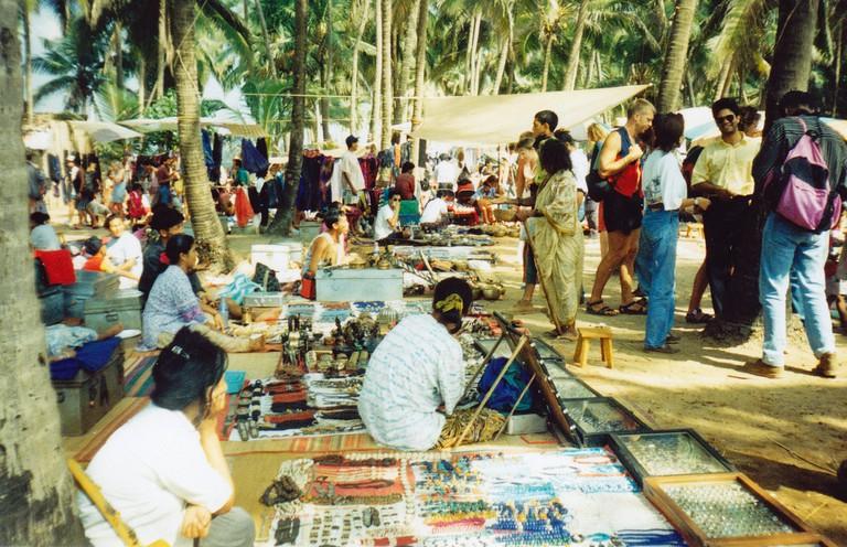People shopping at Anjuna Flea Market in Goa