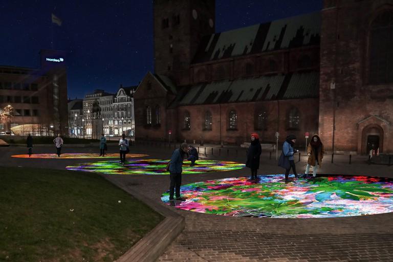 Render of Miguel Chevalier's interactive light installation at Bispetorvet