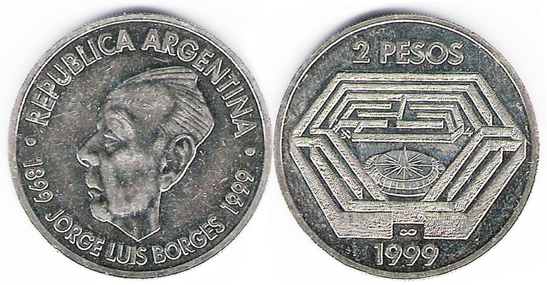 Borges immortalised on an Argentine coin