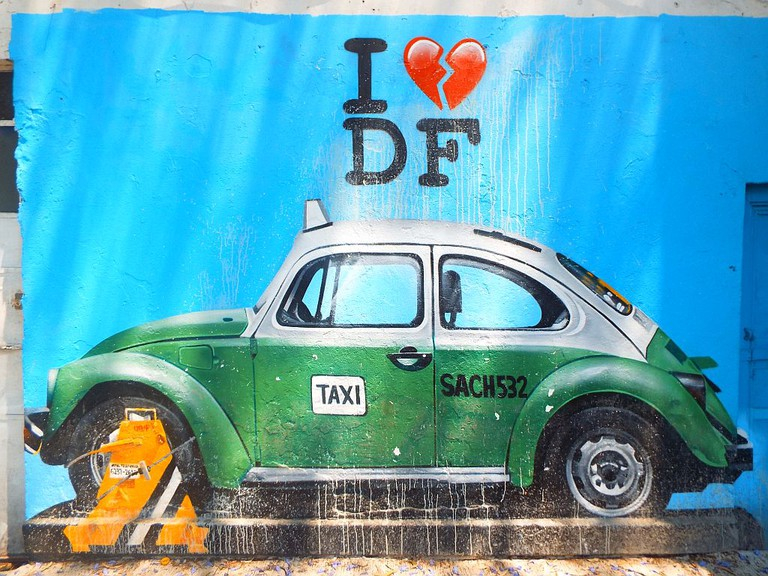 Green Taxi mural in Roma by Street Art Chilango collective