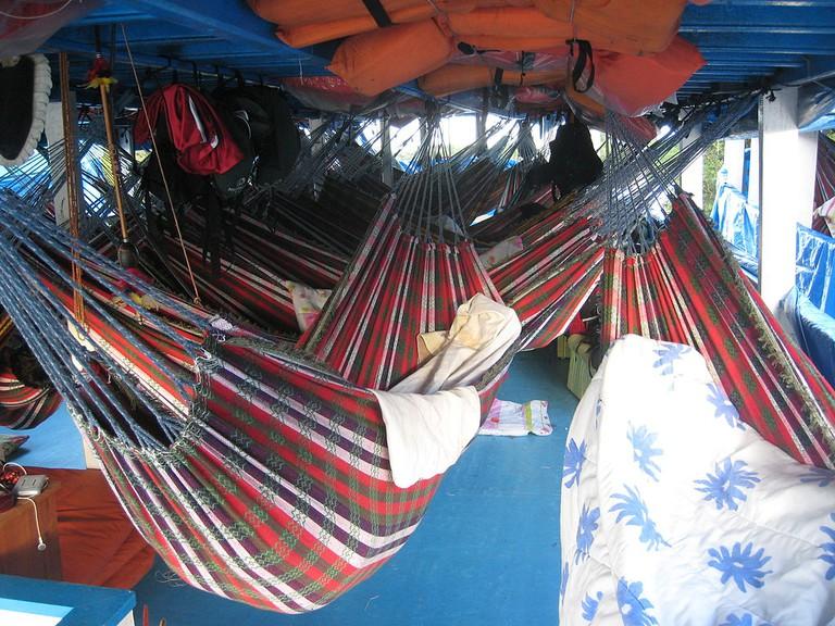 Hammocks on a riverboat, Brazil