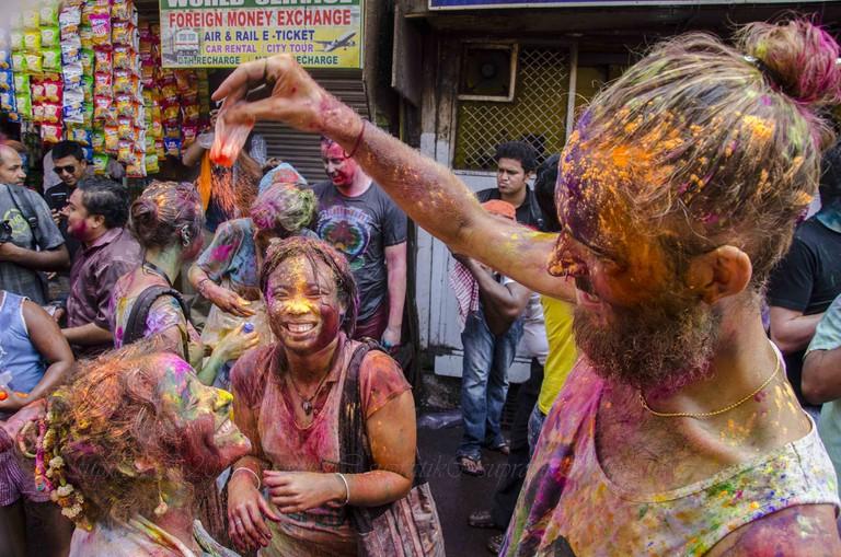People playing holi in India