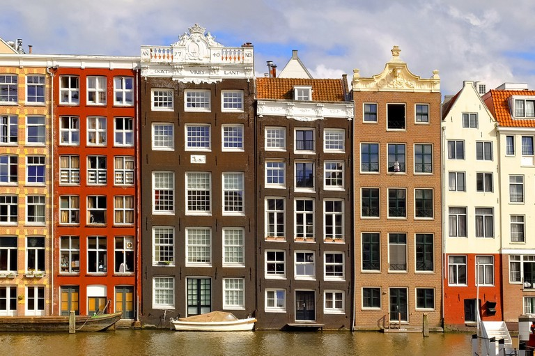 A typical row of houses in Amsterdam