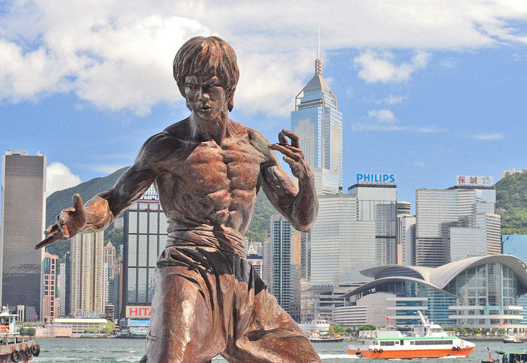 A 2.5-metre bronze statue of Bruce Lee erected along the Avenue of Stars in Hong Kong